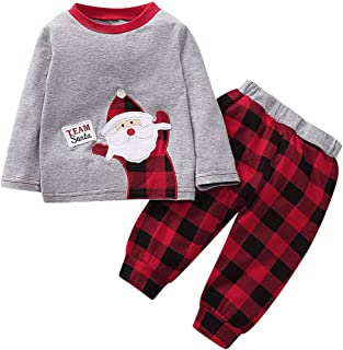 PROBABY Baby Christmas Outfits Set Infant Boys Girls Long Sleeve Santa Claus Romper+Snow Plaids Pant with Hat Christmas Clothes Set