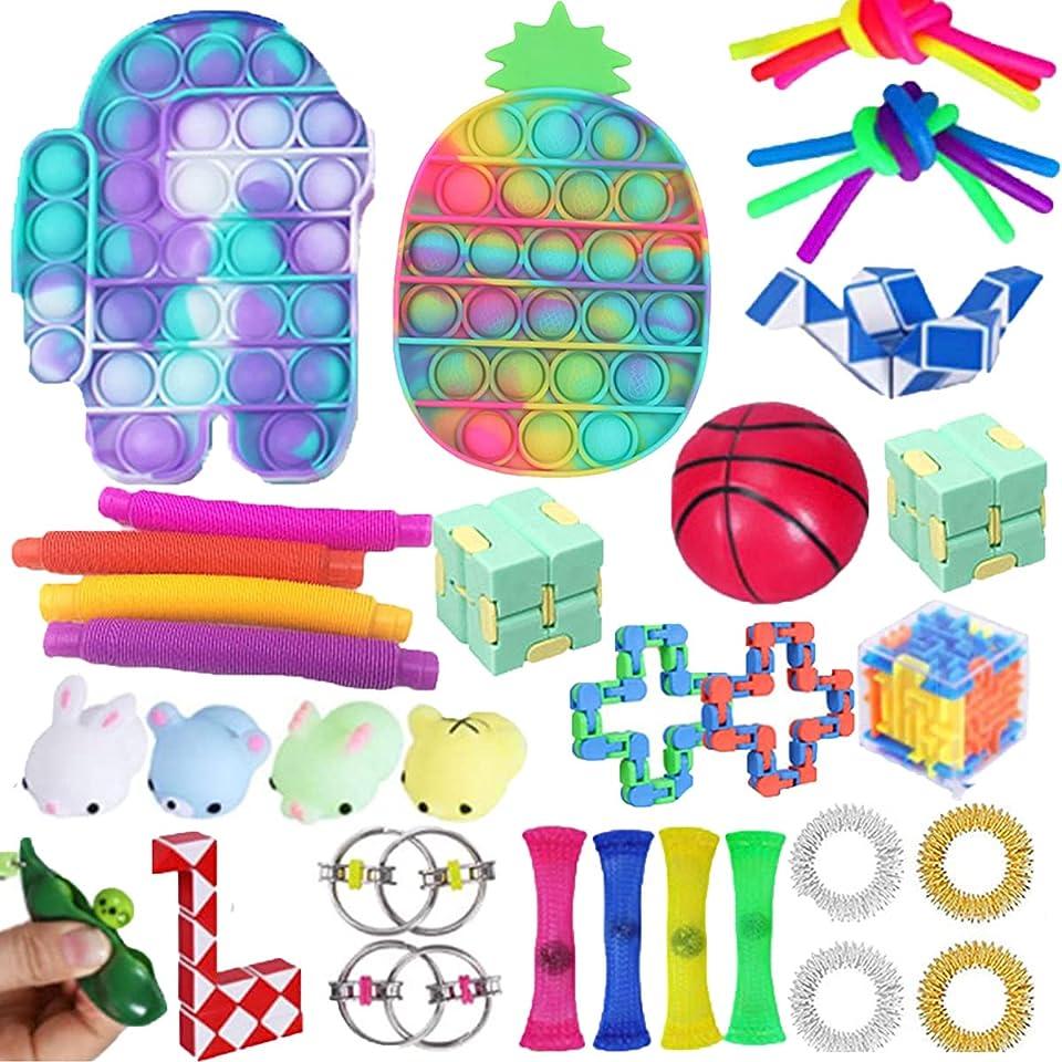 Nokiwiqis 33Pcs Fidget Toys Set Fidget Pack, Cheap Sensory Relieves Stress Anxiety for Kids Adults, Push Pop Bubble Sensory Fidget Toy