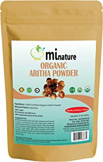 mi nature USDA CERTIFIED Organic Aritha Powder/Soap nut Powder(SAPINDUS MUKOROSSI) FOR SILKY HAIRS / 100% Pure, Natural an...