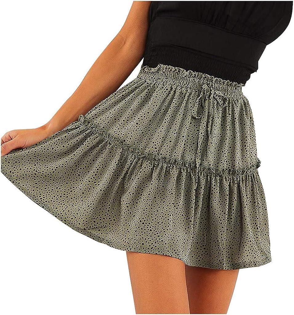 Women's Flowy Youth Dot Print Short Skirt Cute Flared Ruffle A Line Double Layer Mini Skirts