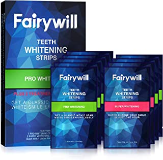 Fairywill Pro Teeth Whitening Strips Non-Slip for Sensitive Teeth, Whitener Strips Remove All Manner of Stains in 30mins, ...