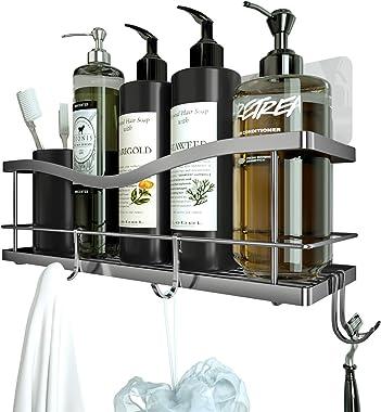 KINCMAX Shower Caddy Basket Shelf with Hooks for Hanging Sponge and Razor,Shampoo Holder Organizer,No Drilling Adhesive Wall