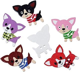 Souarts Botão de madeira de 2 furos aleatório em forma de cão para costura pacote com 100