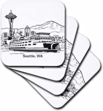 3dRose CST_14268_2 Seattle, WA Ferry and Space Needle Soft Coasters (Set of 8)