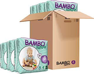 Bambo Nature Eco Friendly Baby Diapers Classic for Sensitive Skin, Size 4 (15-40 lbs), 180 Count (6 Packs of 30)