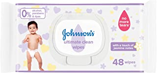 JOHNSON'S Baby Wipes, Ultimate Clean, Formula Free of Alcohol, Parabens & Dyes, Pack of 48 wipes