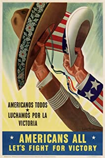 Americans All Lets Fight for Victory Americanos Todos World War II Propaganda Cool Wall Decor Art Print Poster 12x18