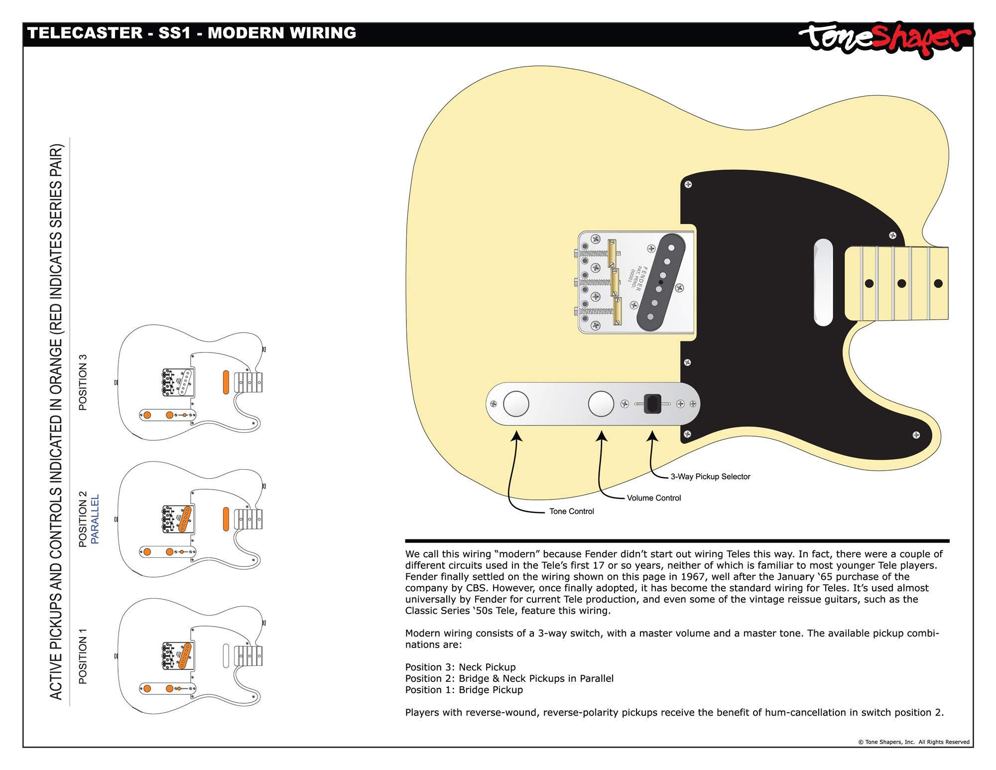 Toneshaper Guitar Wiring Kit For Fender Telecaster Ss1 Modern Wiring Amazon Co Uk Musical Instruments