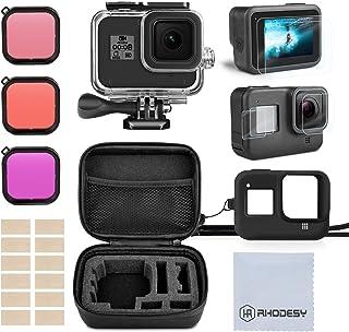 Rhodesy Kit Accesorios Set para GoPro Hero 8 Black(Negro) Estuche Protector Carcasa Impermeable + Película Templada + Funda de Silicona + Filtro para GoPro Hero 8 Acción Cámara