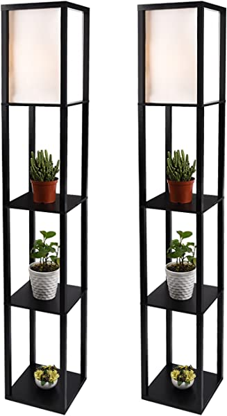 LED Shelf Floor Lamp Simple Design Modern Standing Lamp With Soft Diffused Uplight Asian Style Wooden Frame With Convenient Open Box Display Shelves Black Set Of 2 Black 2