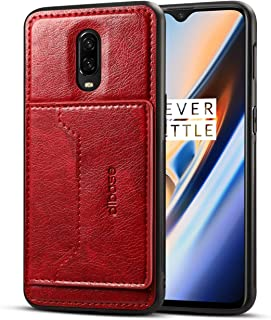 OnePlus 6T Case, Slim Fit Magnetic Back Flip Stand Card Holder Wallet PU Leather Hybrid TPU Full Frame Shock Absorption Protective Cover Case for OnePlus 6T (Red)