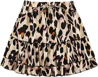 SheIn Women`s Leopard Print Drawstring Waist Layer Ruffle Hem Short Skirt