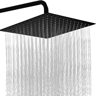 GGStudy 16 Inch Square Stainless Steel Shower Head Rain Style Shower Head Oil Rubbed Bronze(Black)