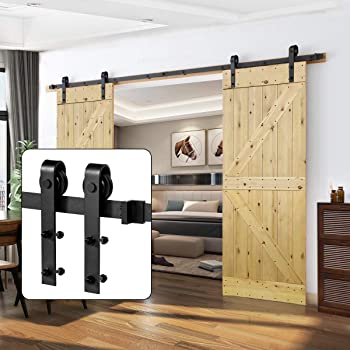 U-MAX 10FT Heavy Duty Double Door Sliding Barn Door Hardware Kit Simple and Easy to Install Fit 30 Wide Door Panel Super Smoothly and Quietly