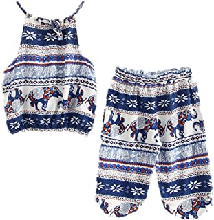 Kids Baby Girls Outfits Boho Big and Small Elephant Pattern Camisole + Pants Beachwear Clothes Set