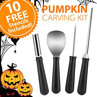 Newbea 4 Pieces Stainless Steel Pumpkin Carving Kit, Professional Pumpkin Shaving Tools Kit with 10 Halloween Carving Pattern Stencils