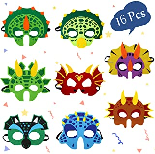Dinosaur Masks Party Supplies for Kid (16 Packs) Felt and Elastic - Masquerade and Birthday Dinosaur Party Mask Favors Dec...