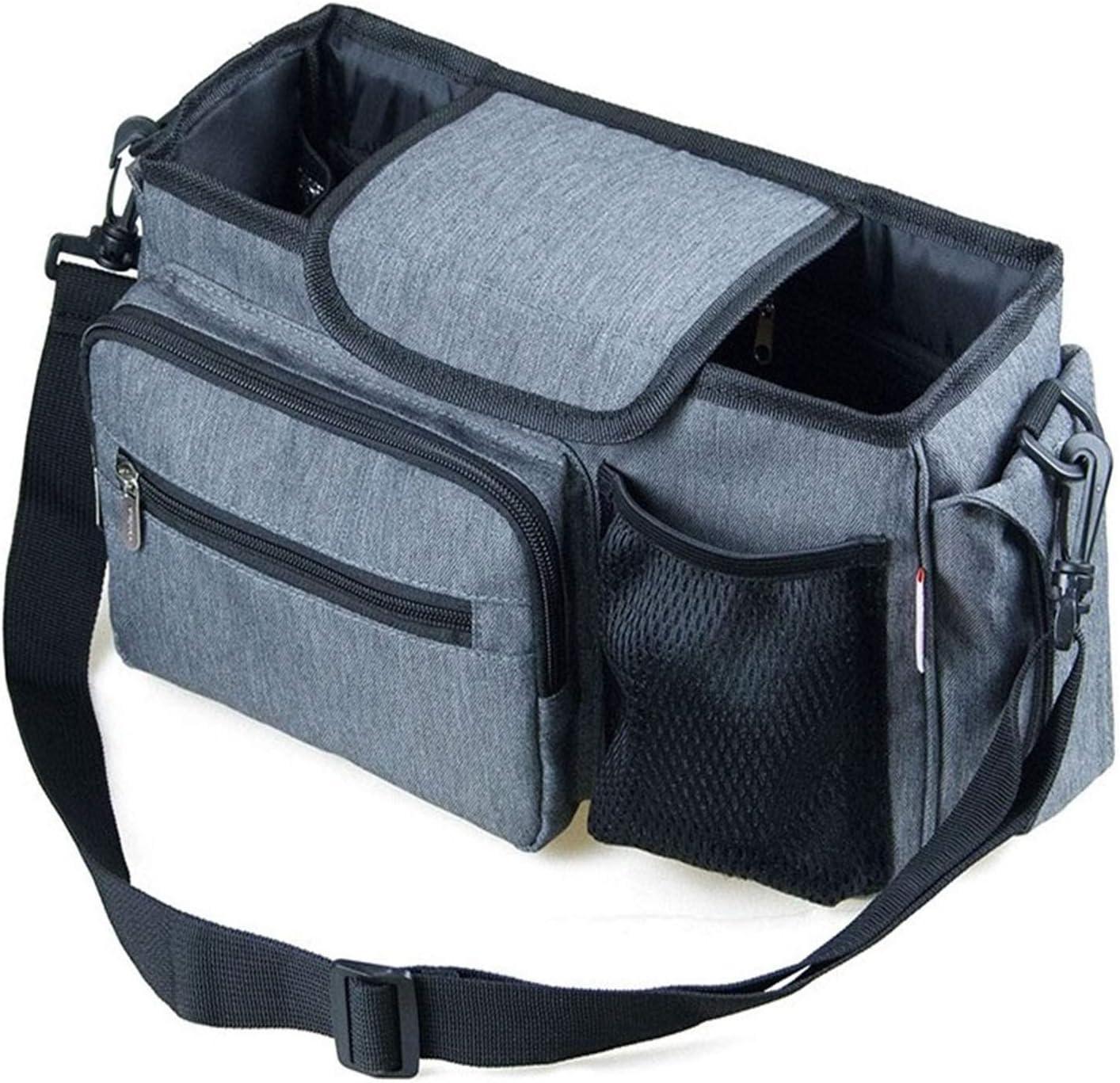 Efaithtek Baby Stroller Storage Bag Travel Handbag, Waterproof with Cup Holder, Multi-Purpose, Suitable for Baby Products Storage, Travel Storage (Gray)