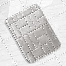 Clara Clark Bathroom Rugs, Velvet Memory Foam Bath Mat Ultra Soft Non Slip and Absorbent, 17 x 24, Tiled-Silver