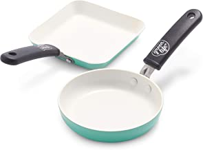 GreenLife Mini Square Grill Pan and Mini Round Egg Pan Set, Turquoise, (CW002438-002)