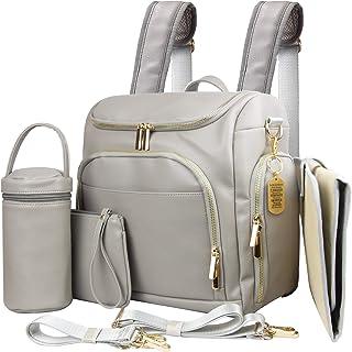 Leather Nappy Bag All-in-1 Nappy Bag Backpack, Multifunction Messenger & Shoulder Baby Bag W/Stroller Straps, Diaper Bag B...