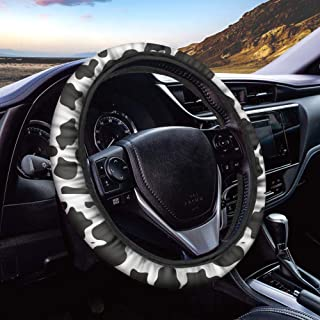 FUIBENG Lovely Cow Animal Print Car Steering Wheel Cover Universal Fit Most Cars SUV Sedans, Auto Wrap Cover Great Gifts f...