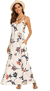Women's Summer Casual Floral Printed Bohemian Spaghetti Strap Floral Long Maxi Dress with Pockets