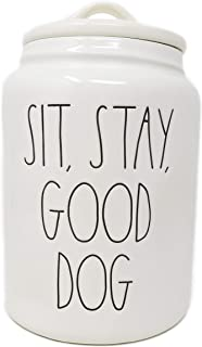 Rae Dunn By Magenta SIT, STAY, GOOD DOG Ceramic LL Large Pet Canister