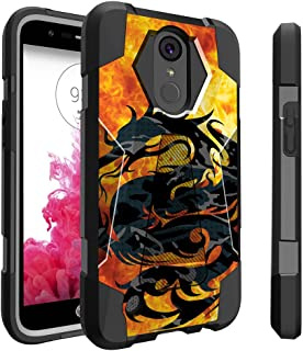 Untouchble Case for LG K20| K 20 Plus| LG Grace | K10 (2017) Case | LG V5 [Traveler Series]- Dual Layer Hard Plastic Inner Silicone Stand Case - Red Fire Dragon