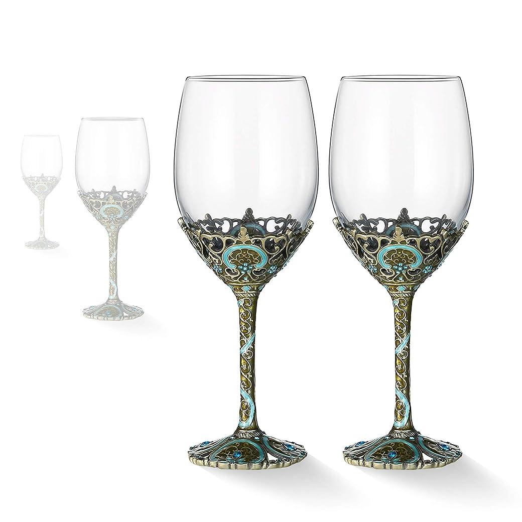 うんブローホール句赤ワイングラス 鉛フリーチタンクリスタルガラス 12オンス エナメル工芸手吹きワイングラス ワインテイスティング 誕生日 記念日 クリスマス ウェディングギフトに 2個セット