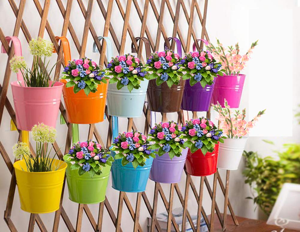 Para colgar macetas, fuera topper balcón jardín planta Planter Metal hierro Mini flores Plantones BRIGADA valla cubo macetas maceta percha para decoración del hogar: Amazon.es: Jardín