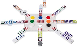 El Tren Mexican Train Dominoes Set, Double 12 Domino Train Game Set with Color Tiles in Clear Acrylic Box with Acrylic Hub...