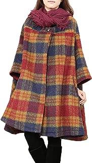 Women's Winter Coat Cape Woolen Jacket Plaid Bat Sleeve Loose Coat