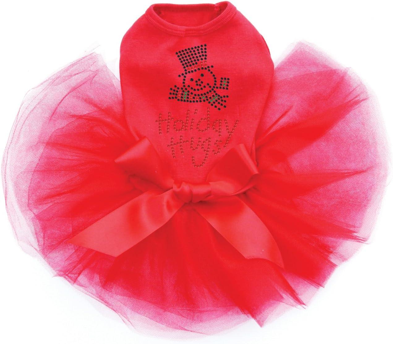 Holiday Hugs - Bling Rhinestone Christmas XL OFFicial store Tutu Cheap bargain Dress Dog Red