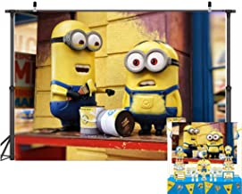 TJ Cartoon Minions Yellow Photo Backdrops Minions Baby Shower Kids Birthday Party Photography Background Children Studio Booth Props Banner Cake Table Decoration Supplies 7x5FT Vinyl