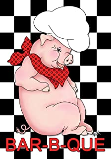 Toland Home Garden BBQ Pig 28 x 40 Inch Decorative Summer Barbecue Grill Chef Hat House Flag