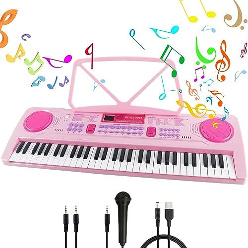 Clavier de Piano 61 Touches Chargable Clavier Piano Clavier Electronique Portable Musique Clavier Avec Pupitre,Microp...