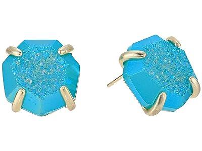 Kendra Scott Ryan Stud Earrings (Gold/Bright Aqua Drusy) Earring