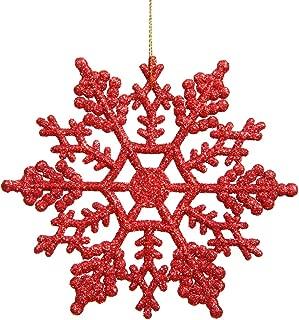 Vickerman Plastic Glitter Snowflake, 4-Inch, Red, 24 Per Box