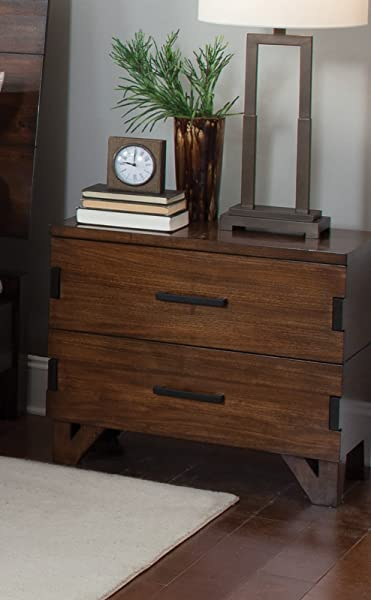 Coaster 204852 CO Yorkshire 27 5 Nightstand With 2 Drawers Charging Access Dark Bronze Handles Asian Hardwood Poplar Wood And Veneer Materials Coffee Bean