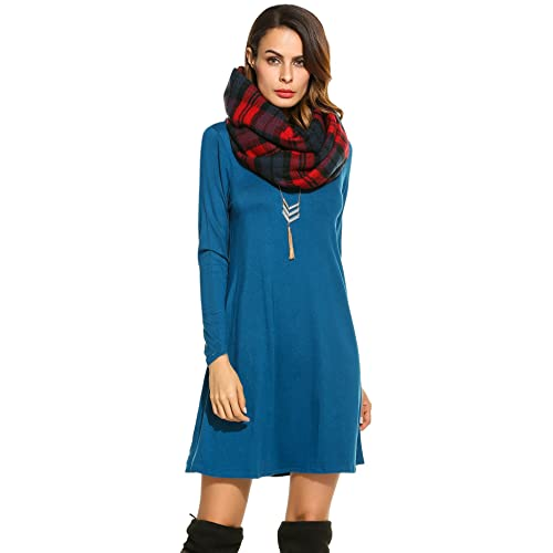 e371abb50c5 Bluetime Women s Winter Fall Basic Long Sleeve Casual Loose Dress