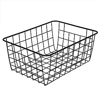 4 Pcs Metal Wire Food Storage Organizer Bin Basket with Handles - Black