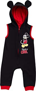 Disney Baby Boys Mickey Mouse Sleeveless Hooded Romper Jumpsuit