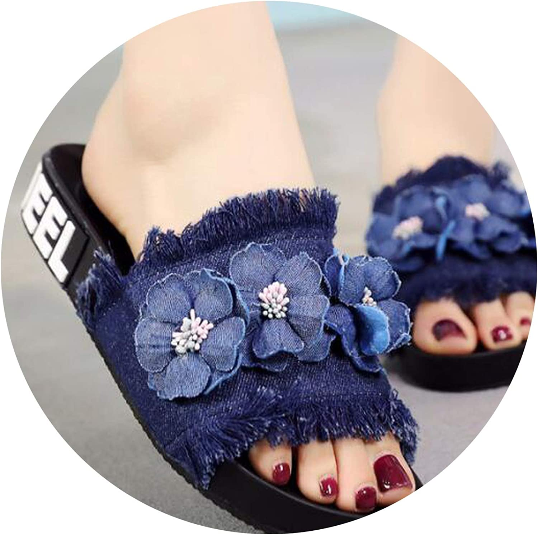 Heat-Tracing Handmade Camellia Denim Slippers Woman Summer Cool Tassel Open Toe Slides Sweet Flowers Flat flip Flops Slippers Woman New