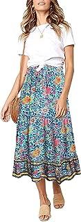 LookbookStore Women Summer Boho Floral Print Elastic Waist A Line Long Maxi Skirt
