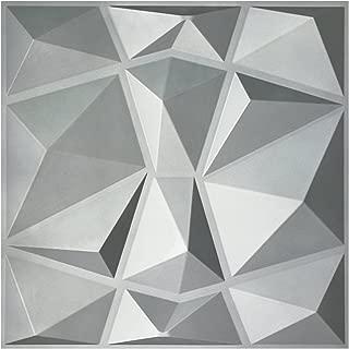 Art3d 3D Paneling Textured 3D Wall Design, Silver Diamond, 19.7