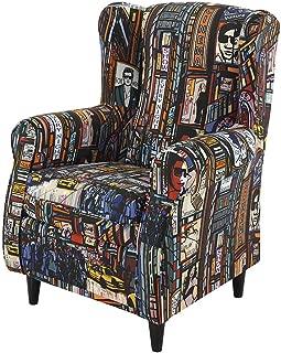 HOGAR TAPIZADO Butaca sillón orejero Nadia tapizado en Tela Estampada New York Pop Color 100 x 72 x 74