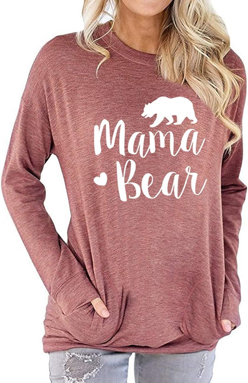 Vaise Womens Mama Bear T Shirt Mom Tshirt Casual Summer Short Sleeve Tops Shirts Loose Fit Graphic Tshirts