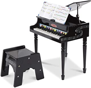 """Melissa & Doug Learn-to-Play Classic Grand Piano (Mini Keyboard with 30 Hand-Tuned Keys, Non-Tipping Bench, Materials, 23.65"""" H x 21.4"""" W x 10.05"""" L)"""