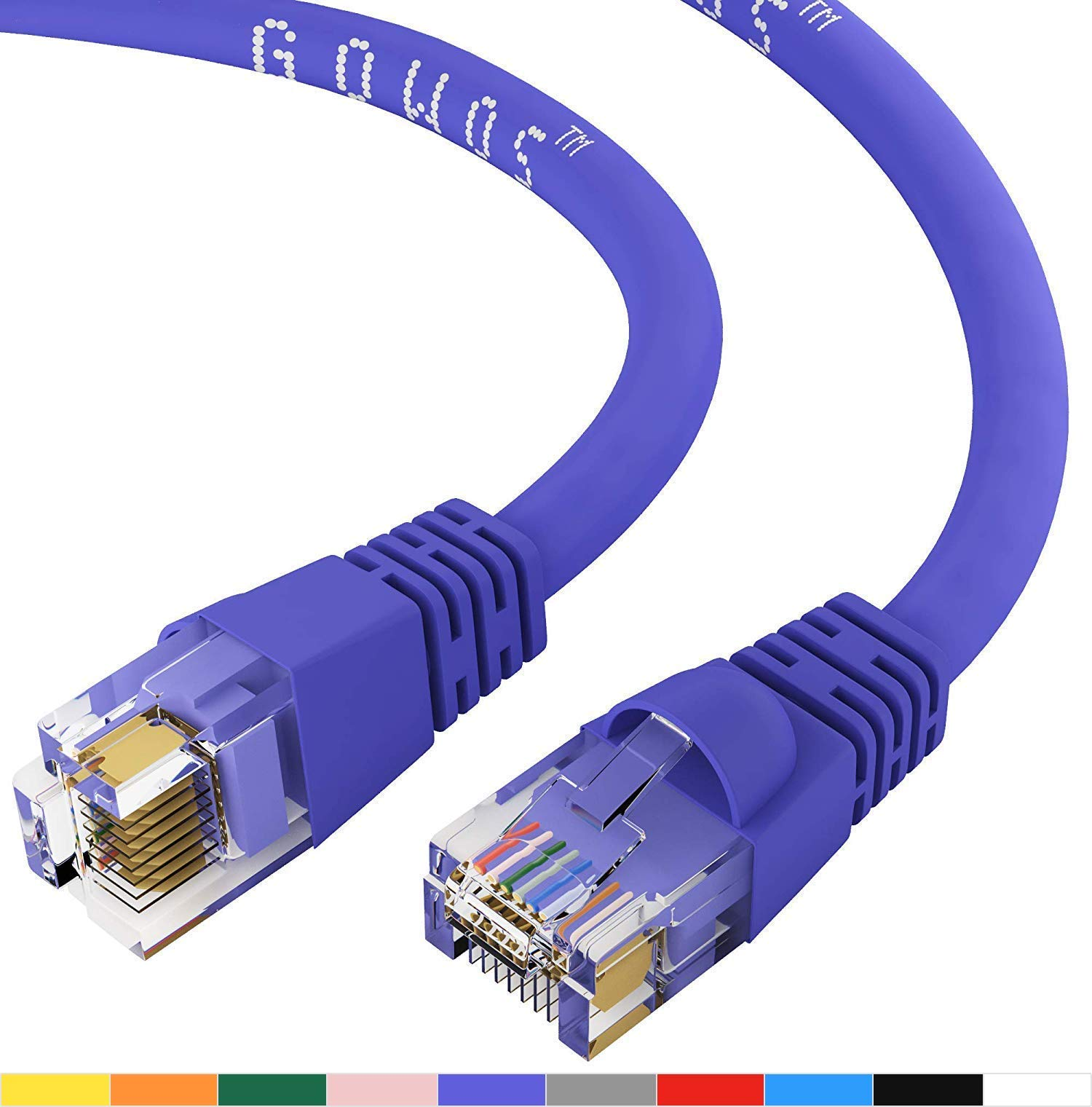 Available in 28 Lengths and 10 Colors RJ45 10Gbps High Speed LAN Internet Patch Cord GOWOS 20-Pack 2 Feet - Yellow Cat5e Ethernet Cable UTP Computer Network Cable with Snagless Connector